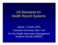 US Standards for Health Record Systems - SBIS