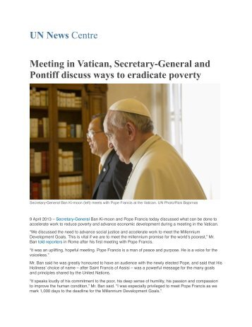 Meeting in Vatican, Secretary-General and Pontiff discuss... Read ...