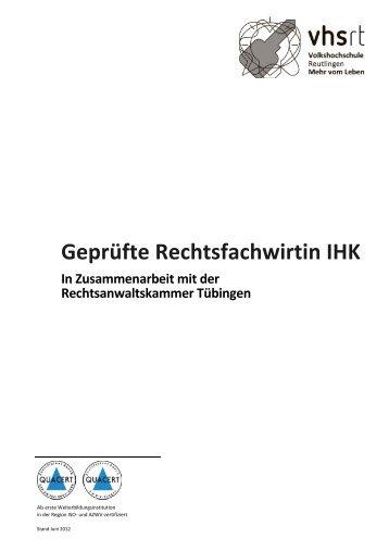 Lehrgangsinhalte - Volkshochschule Reutlingen GmbH