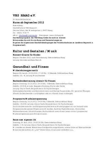 VHS HAAG e.V. Kultur und Gestalten / Musik Gesundheit und Fitness
