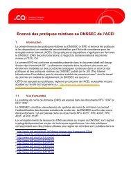 Énoncé des pratiques relatives au DNSSEC de l'ACEI - CIRA