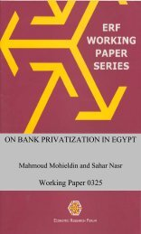 ON BANK PRIVATIZATION IN EGYPT Working Paper 0325