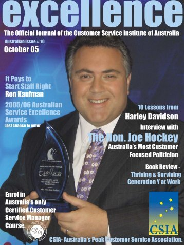 The Hon. Joe Hockey - Customer Service Institute of Australia