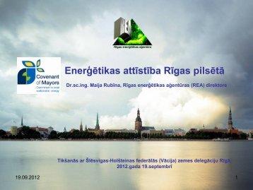 Enerģētikas attīstība Rīgas pilsētā - Rīgas enerģētikas aģentūra