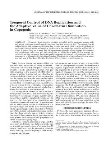 Temporal Control of DNA Replication and the Adaptive Value of ...