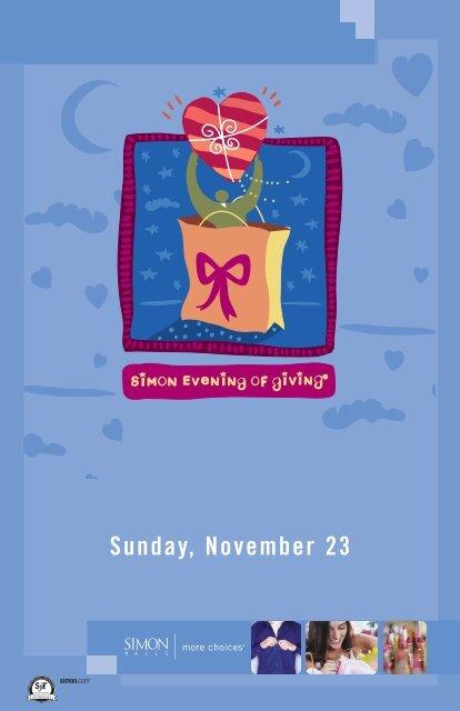 Sunday November 23 Simon Malls