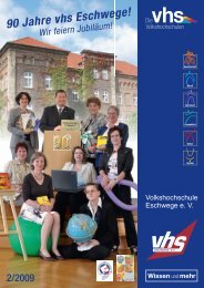 Mit der einmaligen - Volkshochschule Eschwege eV