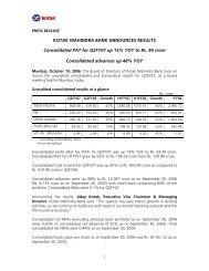 KOTAK MAHINDRA BANK ANNOUNCES RESULTS Consolidated ...