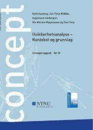 Rapport Nr 10 Usikkerhetsanalyse - Kontekst og ... - Concept - NTNU
