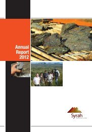 Annual Report 2012 - Syrah Resources Ltd