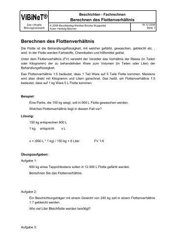 Berechnen des Flottenverhältnis - ViBiNeT