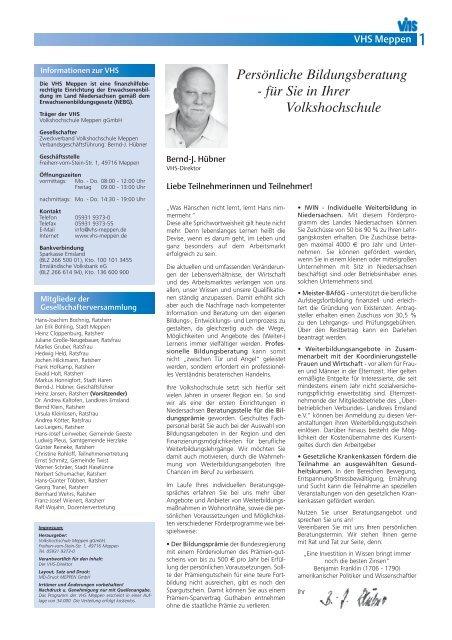 Persönliche Bildungsberatung - Volkshochschule Meppen