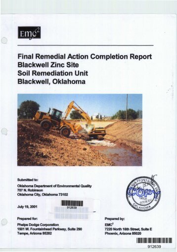 final remedial action completion report for blackwell zinc