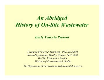 History of Onsite Wastewater in N.C. - Environmental Health Section