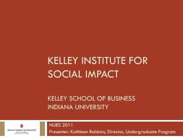 Kelley Institute for Social Impact - Mason School of Business