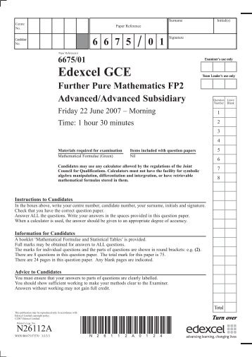 N26112A GCE Further Pure Maths 6675 June 2007.indd - Edexcel