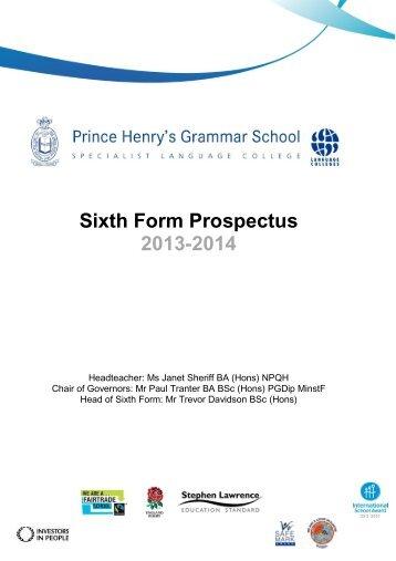 Sixth Form Prospectus 2013-2014 - Prince Henrys Grammar School