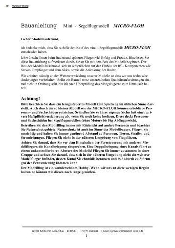 Bauanleitung Mini - Segelflugmodell MICRO ... - Schmierer-Modellbau