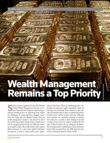 Wealth Management Remains a Top Priority - Thomson Reuters