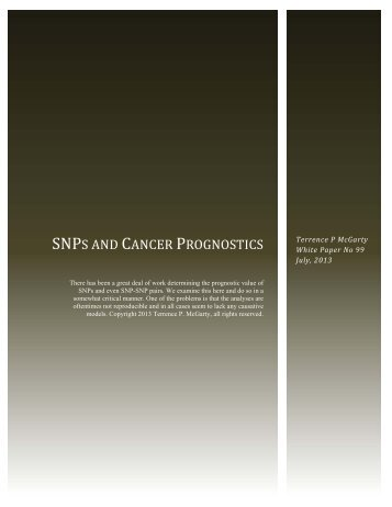 SNPS AND CANCER PROGNOSTICS - Telmarc Group