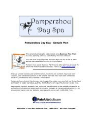 Pamperzhou Day Spa - Sample Plan