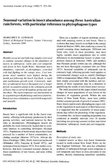 Seasonal variation in insect abundance among three Australian rain ...