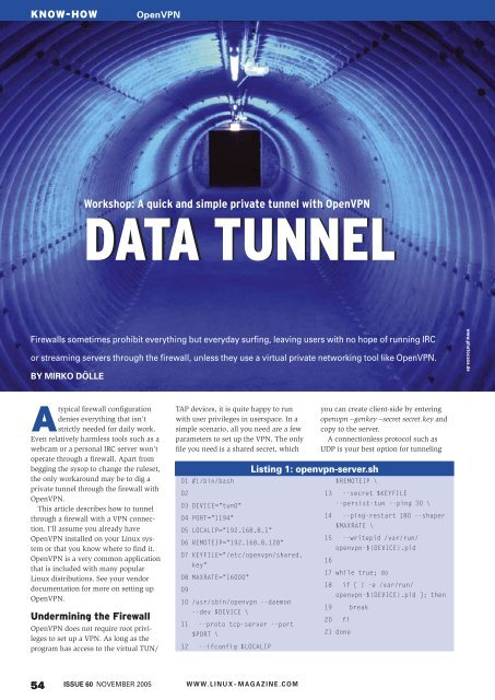Workshop: A quick and simple private tunnel with ... - Linux Magazine