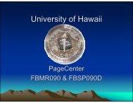 PageCenter Reports FBMR090 & FBSP090D - University of Hawaii