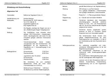 Ausschreibung - beim Heilbronner Segelsport Club eV