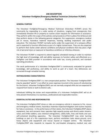 Job Description Volunteer Firefighter/emergency Medical Technician