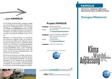 Projekt FAMOUS - Klimaanpassung im Waldviertel