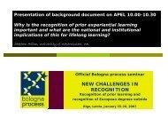 Presentation of background document on APEL - European Higher ...