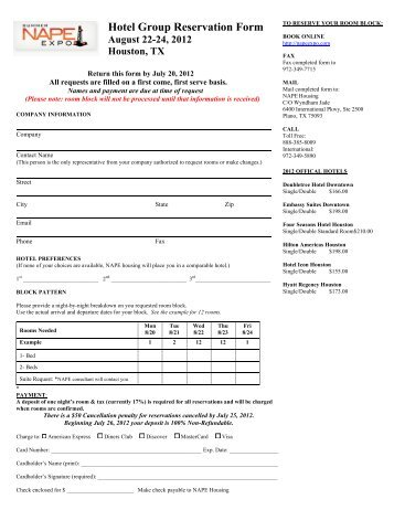 Reservation Hotel Sample Reservation Forms