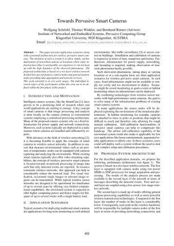 Towards Pervasive Smart Cameras - Pervasive Computing