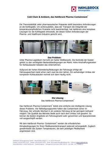 Cold Chain & Ambient, das Hahlbrock Pharma-Containment Die ...