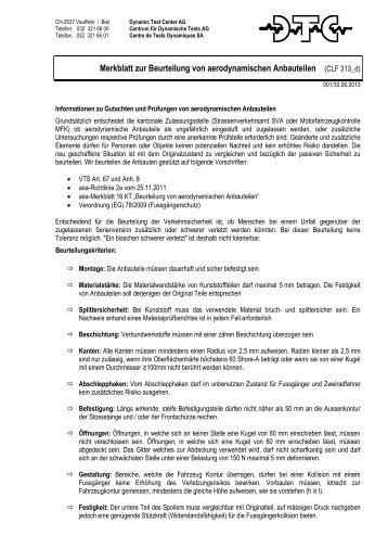 Merkblatt zur Beurteilung von aerodynamischen Anbauteilen - DTC