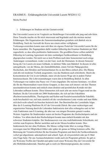 Erfahrungsbericht WS 11 / 12 - Erasmus