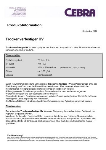 Produkt-Information Trockenverfestiger HV