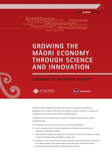 Growing the Māori Economy Through Science and Innovation [PDF ...