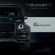 The limited customization programme for your Mercedes ... - Mansory
