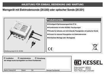 Warngerät mit Elektrodensonde (20 220) oder optischer ... - Kessel
