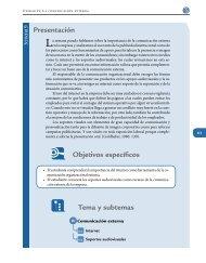 Presentación Objetivos específicos Tema y subtemas