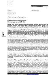 Medienmitteilung Finanzlage verschärft sich - BSPV