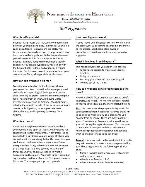 Self-Hypnosis - Northshore Integrative Healthcare