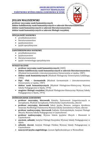 Dorobek naukowy - Państwowa Wyższa Szkoła Zawodowa w Nysie