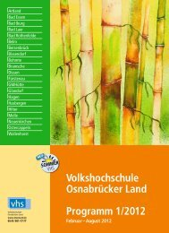 Volkshochschule Osnabrücker Land Programm 1/2012 Februar