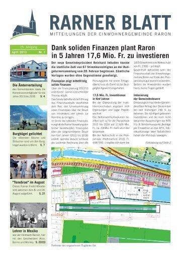 Dank soliden Finanzen plant Raron in 5 Jahren ... - Gemeinde Raron