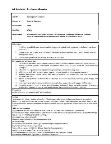 Job description – Senior Development Executive - wcib intranet