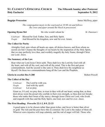 2012-09-09 eucharist - St. Clement's Episcopal Church