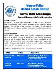 Moreno Valley Unified School District Town Hall Meetings